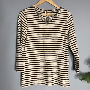 J. Crew Striped Jeweled Gem Top Medium Shirt